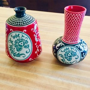 Pier One Asian Inspired Vase Set EUC Displayed